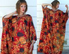vintage DASHIKI DRESS maxi caftan red by s0methingborrowed on Etsy, $24.00