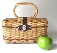 Vintage+Straw+Purse+With+Leather+Accents+by+MagellansBellyStudio,+$18.00
