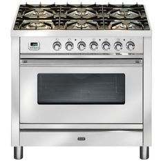 90cm freestanding cooker with 6 gas burners and electric oven Freestanding Ilve Dual Fuel Oven/Stove PW906MPSS