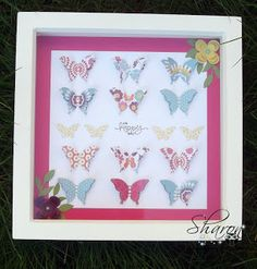 My butterfy picture in a box frame make with Stampin Up products.