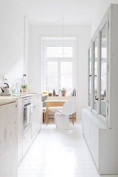 white idea for a small galley kitchen