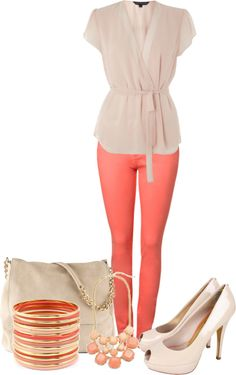 """Cream and Peach"" by wcatterton on Polyvore"