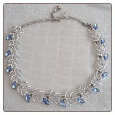 Renoir Vintage Silver Leaf & Blue Rhinestone Necklace | Love this Downton Abbey-esque necklace. So delicate and sophisticated.