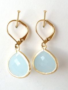 Alice blue framed drop dangle earrings