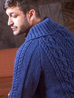 Fitzgerald is an Aran-style cardigan with a shawl collar and raglan shoulders. Pattern is charted. Mens Shawl Collar Cardigan, Christmas Knitting Patterns, Knitting Ideas, Baby Scarf, Dress Gloves, Yarn Brands, Pull, Men Sweater, Knit Sweaters