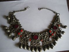 Antique Bedouin Yemen Yemeni Silver Coral Necklace Wow!