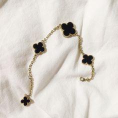 clover bracelet black and gold Jewelry Bracelets