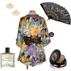 Kimono Hichiro (sob encomenda) by hhbrasil on Polyvore featuring moda, Louche, Gucci and Miller Harris