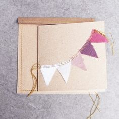6 Cartes invitation anniversaire fanions rose Numéro 74