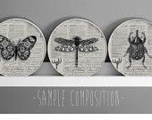 Set of 3 Insect canvas , Original and Unique, 100% handmade 3d picture,