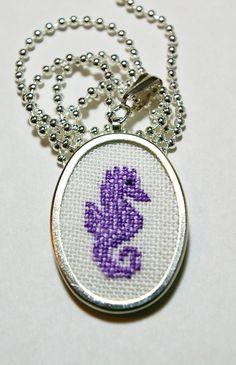 Seahorse Cross Stitch Pendant Necklace Made by BlueTopazStitchery