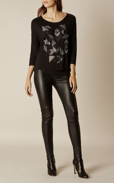 Love the studded geometric print of the shirt (and the leather leggings are pretty rad, too). // Karen Millen, GEO STUDDED TEE Black