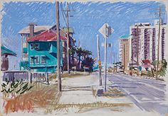 Image for Darron Lillian, Turquoise House on Old 98, Pastel on paper, 2012