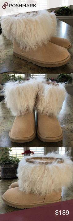 """Ugg Classic Short Mongolian Cuff Boots Natural Full-volume Mongolian wool adds a dose of curly luxury to this funky spin on the classic Ugg"""" boot. Wool lining and Treadlite by Ugg"""" outsoles ensure sure-footed steps in this glam pair. These are kids 6 selling as 8 in woman . BRAND NEW!! UGG Shoes Winter & Rain Boots"""