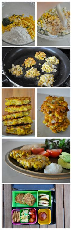 Corn Fritters Recipe - great for dinner and the lunch box Corn Fritter Recipes, Veggie Recipes, New Recipes, Vegetarian Recipes, Cooking Recipes, Summer Grilling Recipes, Healthy Summer Recipes, Healthy Snacks, Corn Fritters