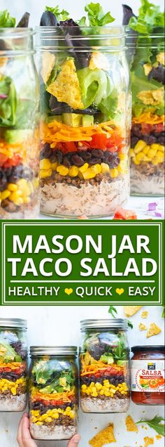 Take this Healthy Taco Salad to work or school in a super convenient mason jar! This easy mason jar salad recipe is a gluten-free and easy work lunch that you can prep-ahead for the week! Back to school lunch has never been so healthy and easy! Taco Salad Recipes, Taco Salads, Healthy Salads, Healthy Eating, Healthy Recipes, Jar Recipes, Juicer Recipes, Healthy Lunches, Mason Jar Lunch