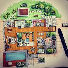 Here are some of the best raised bed garden designs around. You can get a lot of motivation from these photos and create a showpiece of a design. Remember the purpose here is to not only have a garden to produce fruits and vegetables. Villa Architecture, Interior Architecture Drawing, Interior Design Renderings, Architecture Sketchbook, Architecture Magazines, Landscape Architecture Design, Interior Sketch, Computer Architecture, Drawing Interior