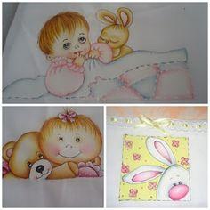Pinturas em Tecido por Fátima Sá : Fraldas para meninas
