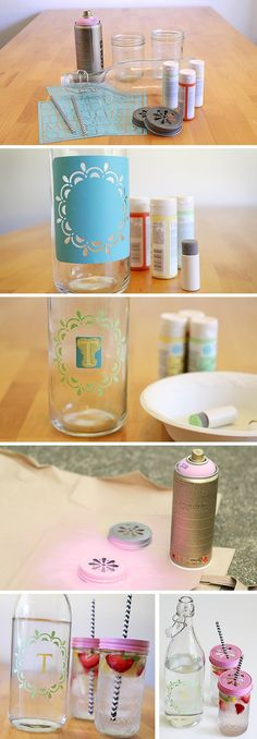 DIY Mothers Day Gift or for friends. Swing bottles and decorated glass too