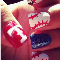 Texas rangers nails ❤doing this!  I am going to a game and i am going to get my nails done like this.