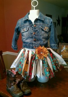 Rag style fabric tutu with matching hairbow by TutifulBowtique, $30.00