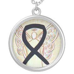 Black Awareness Ribbon Angel Jewelry Necklace