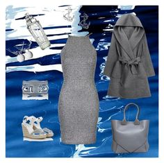 """""""Grey on the waterfront."""" by el-geezy on Polyvore featuring Art Addiction, Oh My Love, FOSSIL, WithChic, Prada, Balenciaga, Givenchy, William Yeoward, Lee Broom and women's clothing, women, women's clothes, women's outfits, street style, weekend, chill, casual, earrings, bracelet, leather bracelet, grey, wedges, silver wedges, grey dress, grey sweater, anchor earrings"""