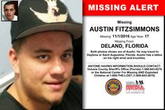 AUSTIN FITZSIMMONS, Age Now: 17, Missing: 11/01/2016. Missing From DELAND, FL. ANYONE HAVING INFORMATION SHOULD CONTACT: Volusia County Sheriff's Office (Florida) 1-386-943-8276.