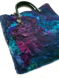 Nuno Felted Bag Hand Dyed Women Textile Tote Bag by FeltedPleasure Nuno Felt Scarf, Felted Scarf, Silk Chiffon Fabric, Felt Gifts, Felt Purse, Art Bag, Nuno Felting, Needle Felting, Felt Art