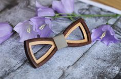 Wooden Bow Tie 3D. With gray leather. Best birthday gift for boyfriend , for friend , for brother , for father , for co-worker by BuffBowTie on Etsy