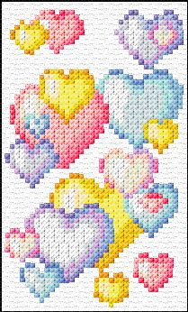 colored hearts #crossstitch