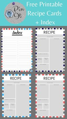 This free printable recipe cards are beautifully designed and come in various colors with an index.  We designed this for all the trendy moms and food bloggers.  Enjoy!