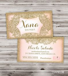 Glitter Glam Business Cards, boutique business cards, vintage glam, glamour, pink, dreamy, faux glitter