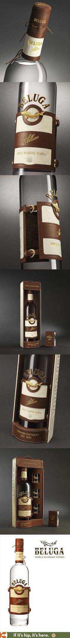 Beluga's Allure Vodka has a leather label and cap with gold buckle accents inspired by the sport of Polo and comes in lovely leather packaged gift sets.