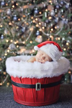 oohhh I can paint one of my cherry baskets red and add a belt... great great idea for upcoming Christmas newborn shoot!!