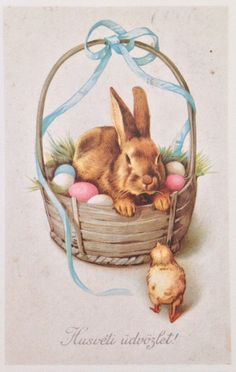 Hungarian Vintage Easter Card