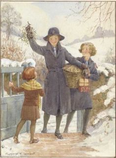 Margaret Tarrant - 'A Welcome Visitor' - girl guides at gate with mistletoe and presents. Winter Illustration, Christmas Illustration, Book Illustration, Christmas Art, Vintage Christmas, Girl Guides, Vintage Artwork, Vintage Postcards, Illustrations Posters