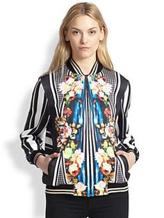 Clover Canyon - Winter Solstice Printed Satin Bomber Jacket