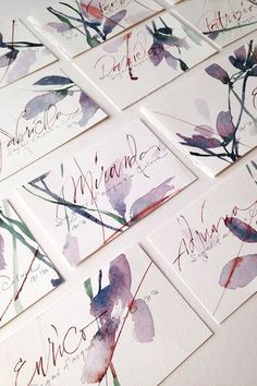 by Gisella Biondani ᴘɪɴᴛᴇʀᴇsᴛ﹕ ʟᴜᴅᴍɪʟᴀʏsʜᴀ Watercolor Lettering, Abstract Watercolor, Watercolor And Ink, Watercolor Flowers, Hand Lettering, Watercolor Paintings, Watercolor Postcard, Postcard Art, Watercolor Brushes
