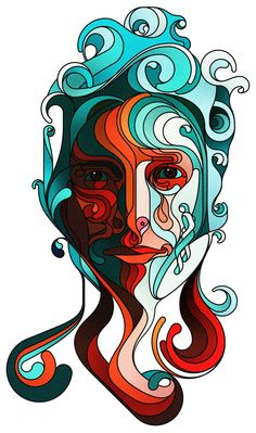 Drawing of face aqua and oranges,reds beautiful combination