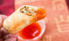 Egg Rolls with Sweet and Sour Sauce... juicy and crunchy..I want it..