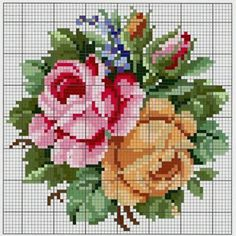 This Pin was discovered by sıd Cross Stitching, Cross Stitch Embroidery, Embroidery Patterns, Hand Embroidery, Cross Stitch Rose, Cross Stitch Flowers, Cross Stitch Designs, Cross Stitch Patterns, Vintage Cross Stitches
