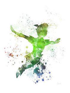 "ART PRINT of Peter Pan illustration 10 x 8"" Disney, Wall Art, Home Decor"
