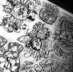 Money Quotes Not About - - - - - Chicano Tattoos Sleeve, Half Sleeve Tattoos Drawings, Tattoo Sleeve Designs, Boog Tattoo, Gangsta Tattoos, Dope Tattoos, Body Art Tattoos, Hand Tattoos, Clock Tattoo Design
