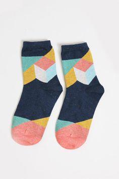 Cube Socks - dark blue