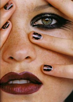 Bold eye makeup with a dark lip. - Orglamix Cruelty-Free + Vegan Color Cosmetics + Makeup