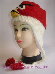Woolen Animal Handmaid Knit Hat Red Angry Bird made in Nepal from Japan!