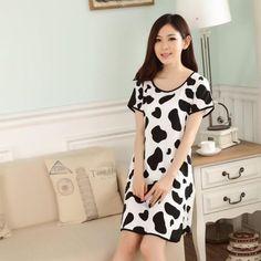 cddf91f288 Women Cute Cartoon Sleepwear Loose Nightwear Short Sleeve Sleepshirt. Girls  SleepwearCute CartoonSleep ShirtNightgowns ...