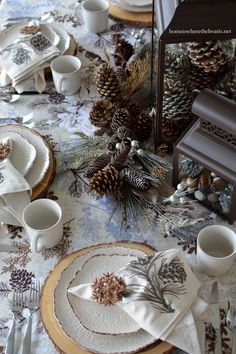 A Winter Woodland Table with Pfaltzgraff Chateau Dinnerware and Snowflake Pizzelles | homeiswheretheboatis.net
