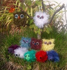 These tiny pocket size animals are perfect to sit on your desk, or travel in your pencil case. They are knitted with eyelash wool, and finished with buttons and beads. The owls are are 7cm high. Hedgehogs are 9cm long.  Sizes may vary slightly.  Please Note ; These are decorative ornaments. for teenagers and adults, not toys. They are therefore not suitable for younger children due to small parts posing a choking hazard. Surface clean only.